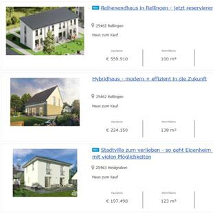 Aktuelle Komplettangebote (Haus + Grundstück) der P3 Massivhaus GmbH